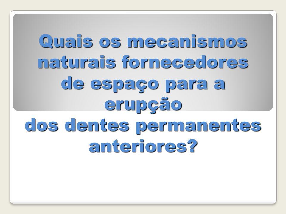 Quais os mecanismos naturais fornecedores de espaço para a erupção dos dentes permanentes anteriores