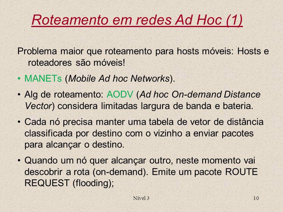 Roteamento em redes Ad Hoc (1)
