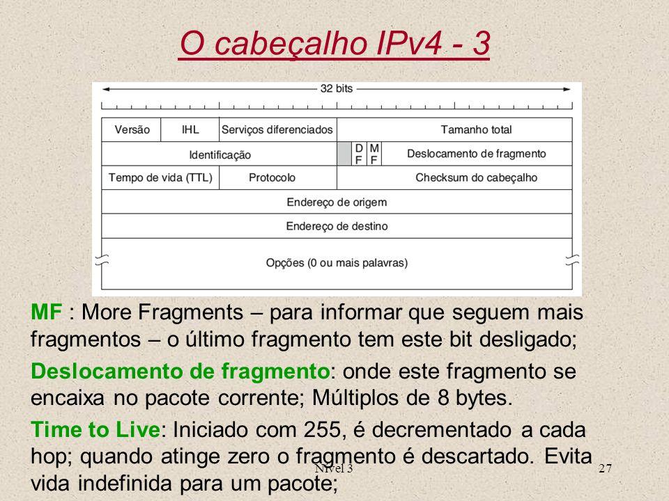 O cabeçalho IPv4 - 3 MF : More Fragments – para informar que seguem mais fragmentos – o último fragmento tem este bit desligado;