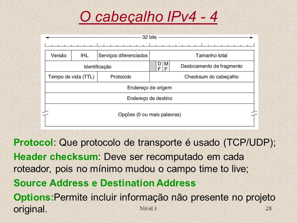 O cabeçalho IPv4 - 4 Protocol: Que protocolo de transporte é usado (TCP/UDP);