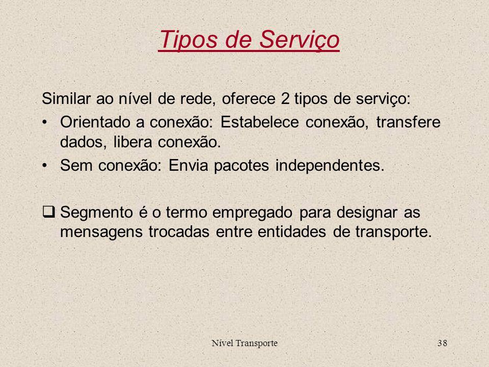 Tipos de Serviço Similar ao nível de rede, oferece 2 tipos de serviço: