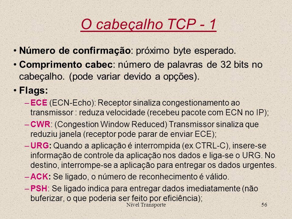 O cabeçalho TCP - 1 Número de confirmação: próximo byte esperado.