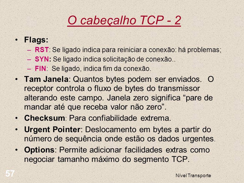 O cabeçalho TCP - 2 57 Flags: