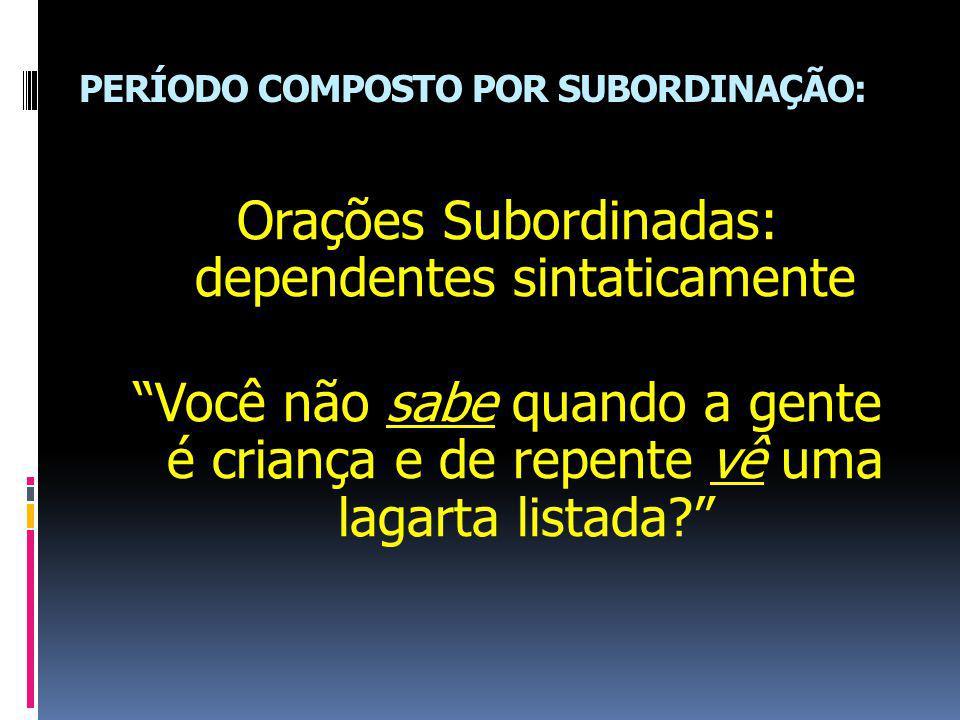 PERÍODO COMPOSTO POR SUBORDINAÇÃO: