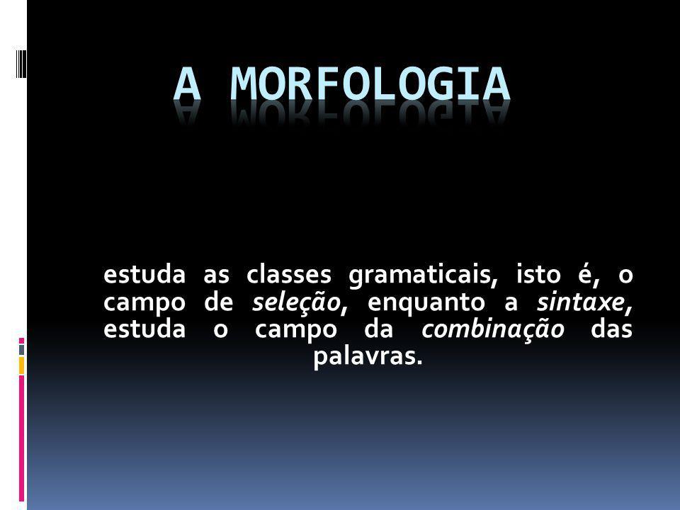 A Morfologia estuda as classes gramaticais, isto é, o campo de seleção, enquanto a sintaxe, estuda o campo da combinação das palavras.