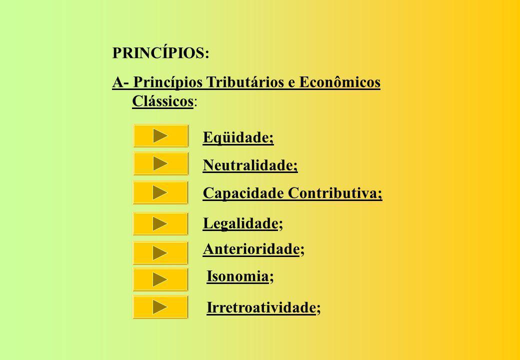 PRINCÍPIOS: A- Princípios Tributários e Econômicos. Clássicos: Eqüidade; Neutralidade; Capacidade Contributiva;
