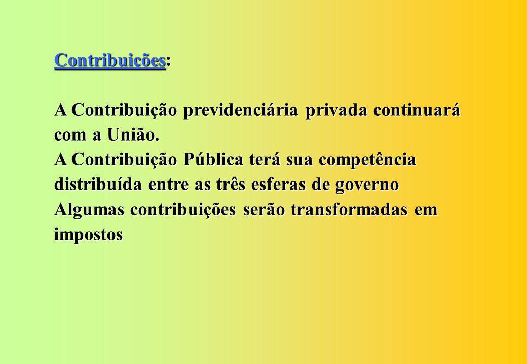 Contribuições: A Contribuição previdenciária privada continuará com a União.