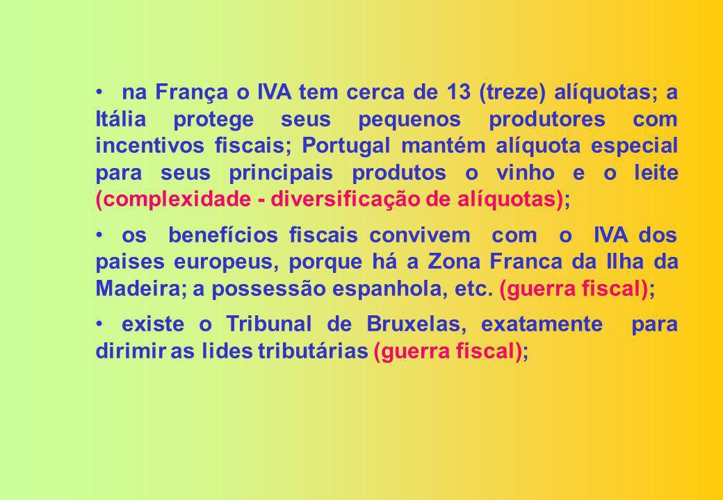 na França o IVA tem cerca de 13 (treze) alíquotas; a Itália protege seus pequenos produtores com incentivos fiscais; Portugal mantém alíquota especial para seus principais produtos o vinho e o leite (complexidade - diversificação de alíquotas);