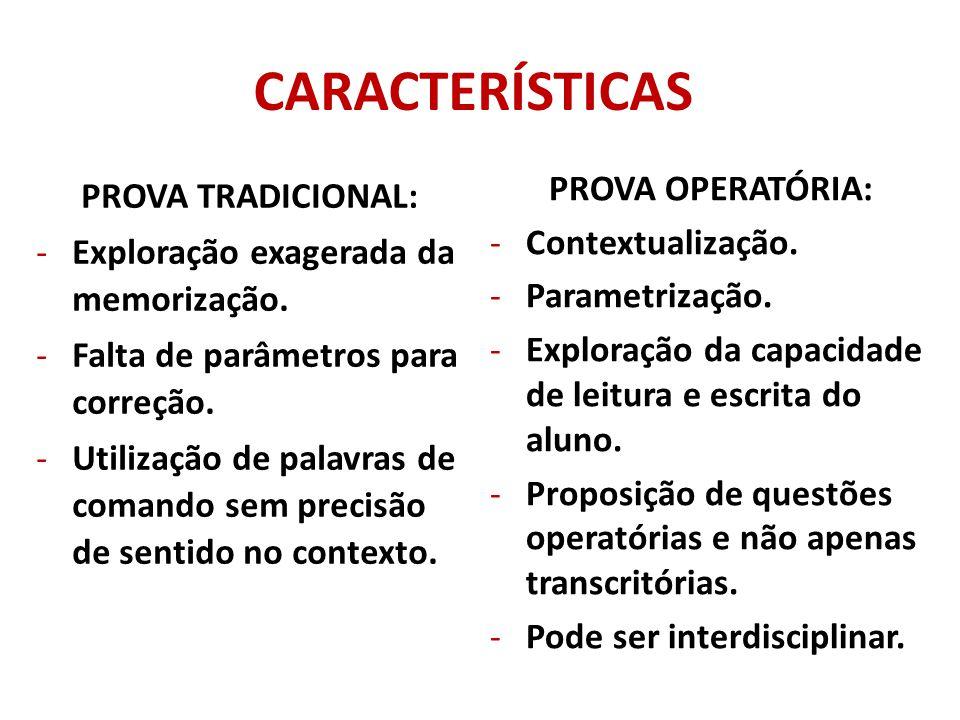 CARACTERÍSTICAS PROVA OPERATÓRIA: PROVA TRADICIONAL: Contextualização.