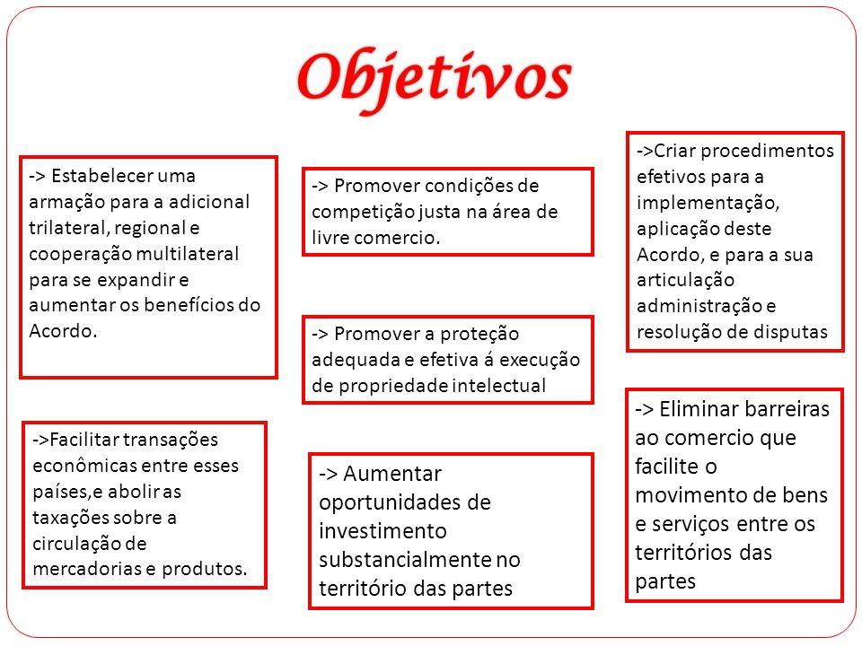 Objetivos ->Criar procedimentos efetivos para a implementação, aplicação deste Acordo, e para a sua articulação administração e resolução de disputas.
