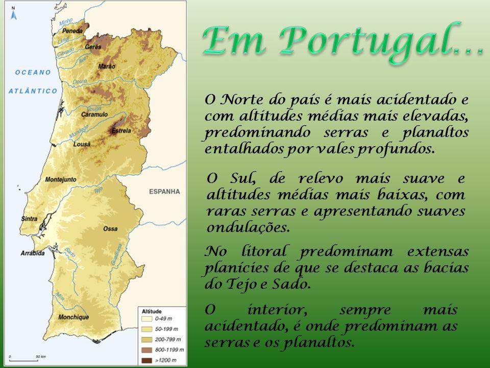 Em Portugal… O Norte do país é mais acidentado e com altitudes médias mais elevadas, predominando serras e planaltos entalhados por vales profundos.