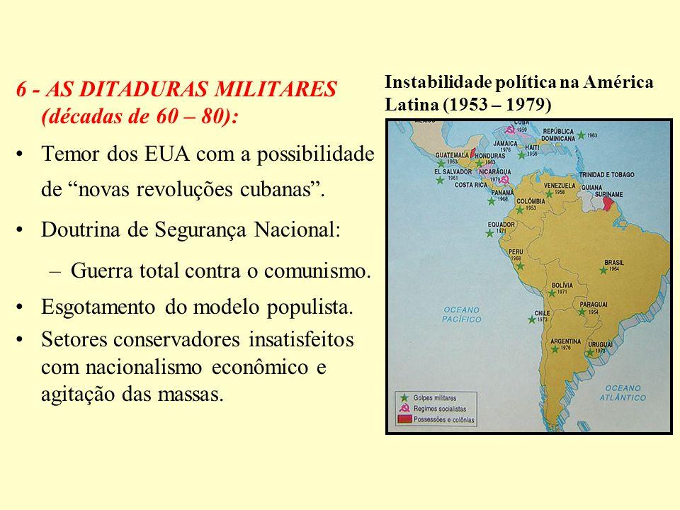 6 - AS DITADURAS MILITARES (décadas de 60 – 80):