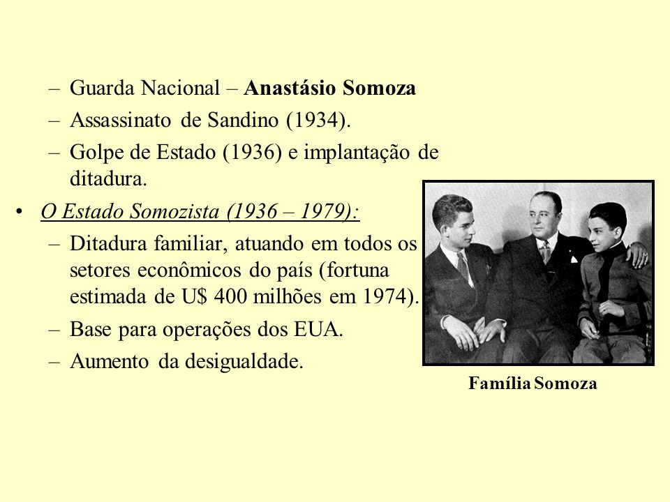 Guarda Nacional – Anastásio Somoza Assassinato de Sandino (1934).