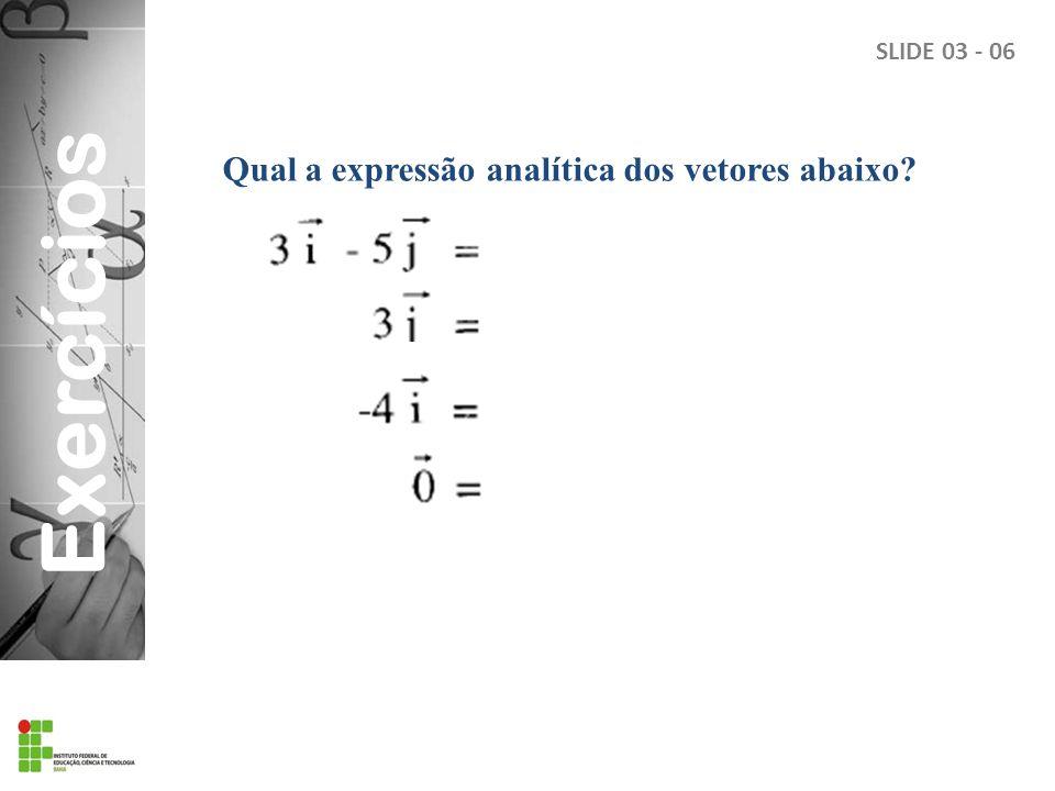 Exercícios Qual a expressão analítica dos vetores abaixo