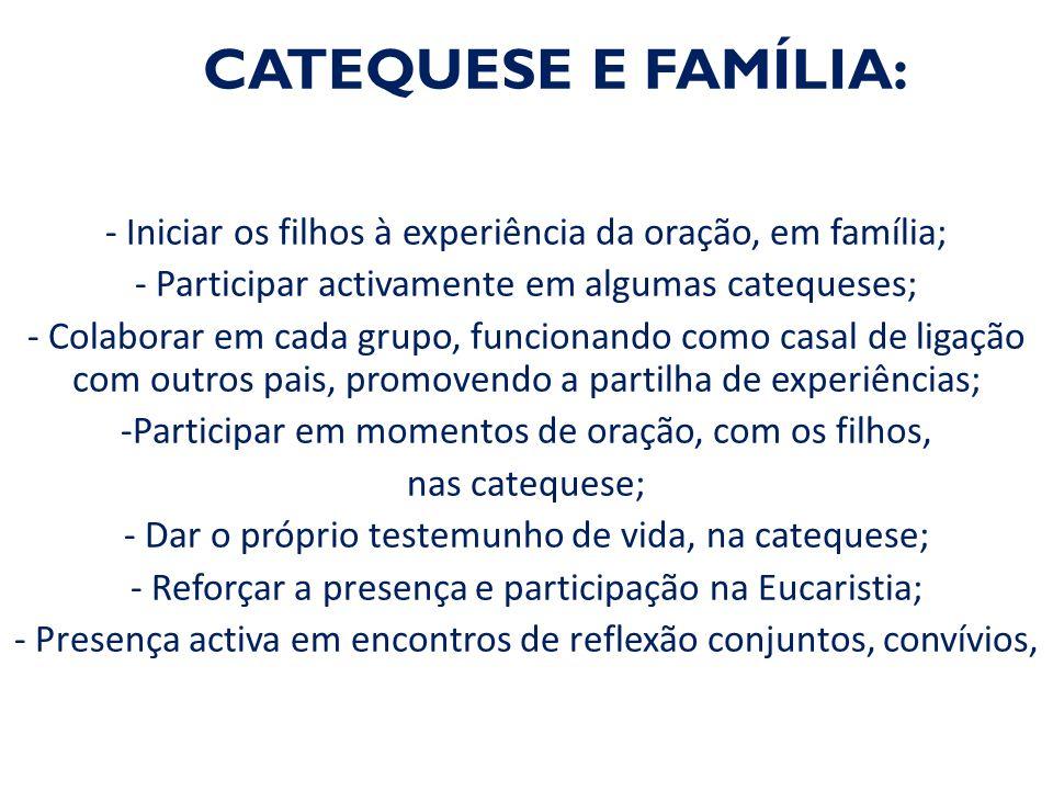CATEQUESE E FAMÍLIA: - Iniciar os filhos à experiência da oração, em família; - Participar activamente em algumas catequeses;