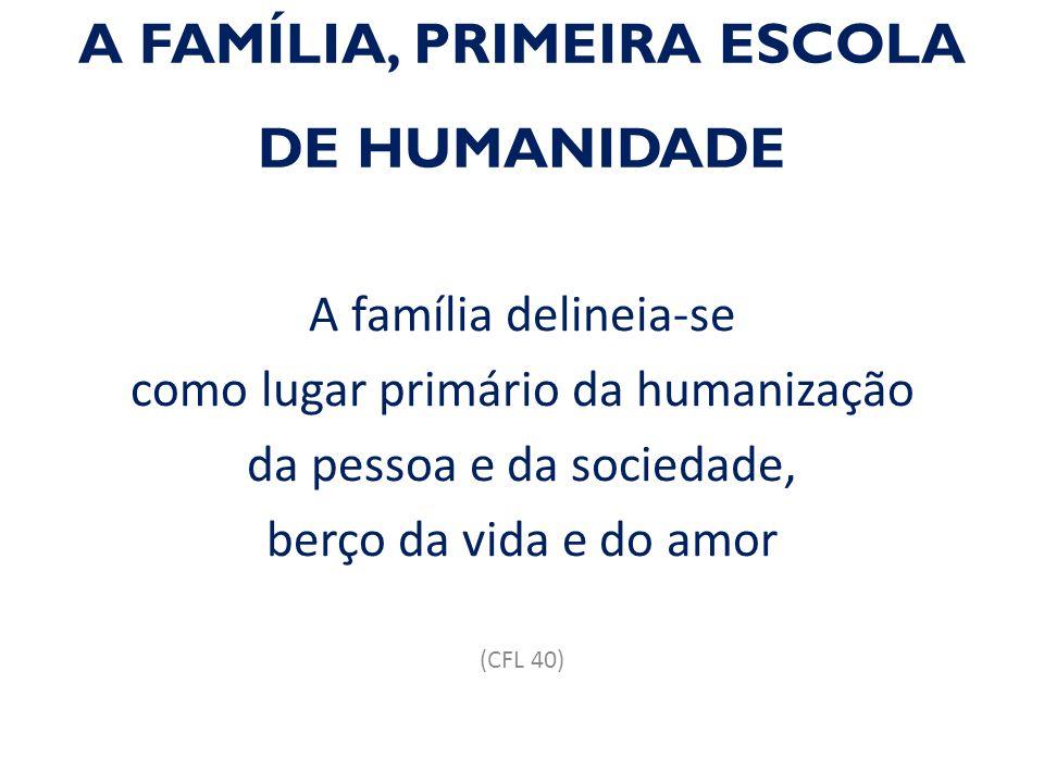 A FAMÍLIA, PRIMEIRA ESCOLA DE HUMANIDADE