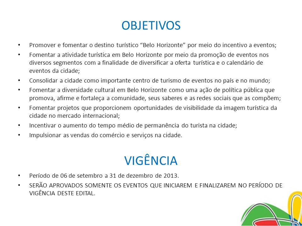 OBJETIVOS Promover e fomentar o destino turístico Belo Horizonte por meio do incentivo a eventos;