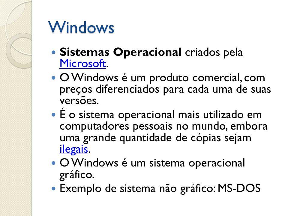 Windows Sistemas Operacional criados pela Microsoft.