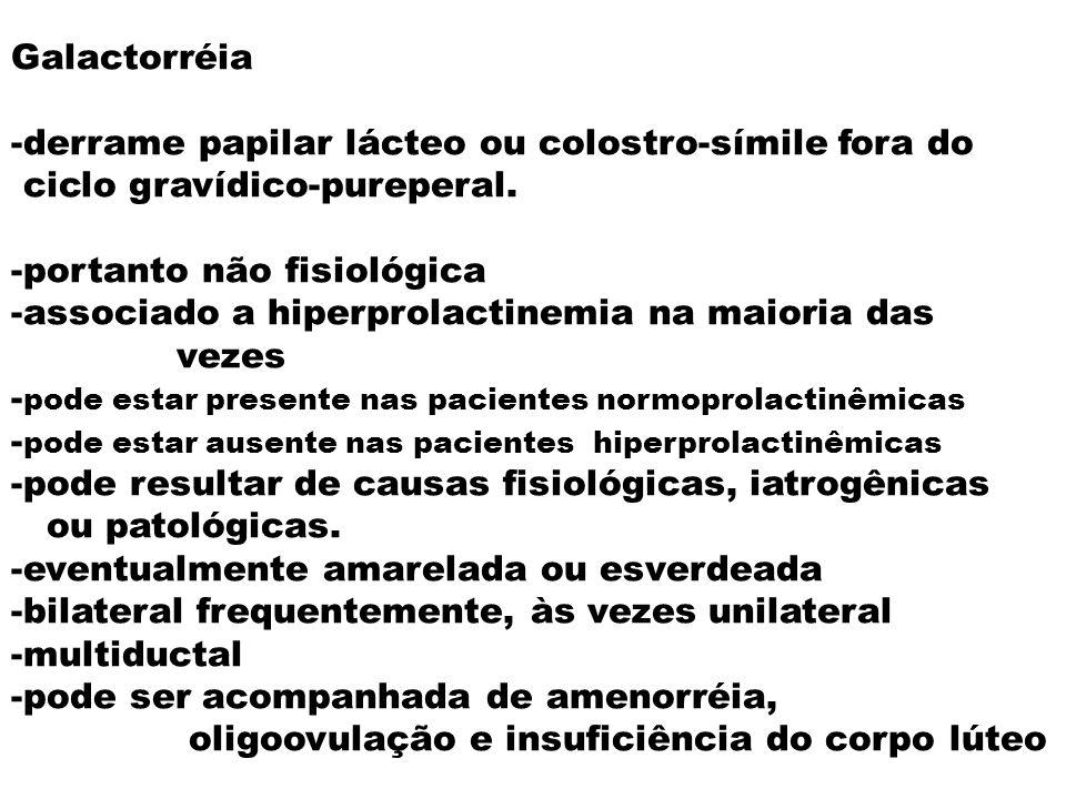 Galactorréia -derrame papilar lácteo ou colostro-símile fora do. ciclo gravídico-pureperal. -portanto não fisiológica.