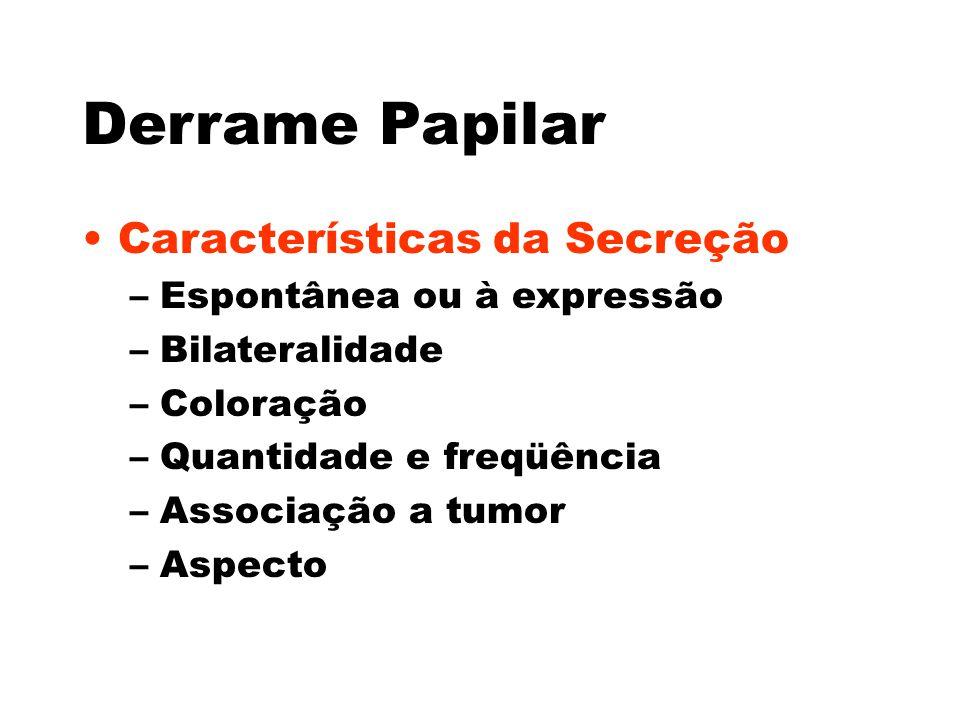 Derrame Papilar Características da Secreção Espontânea ou à expressão