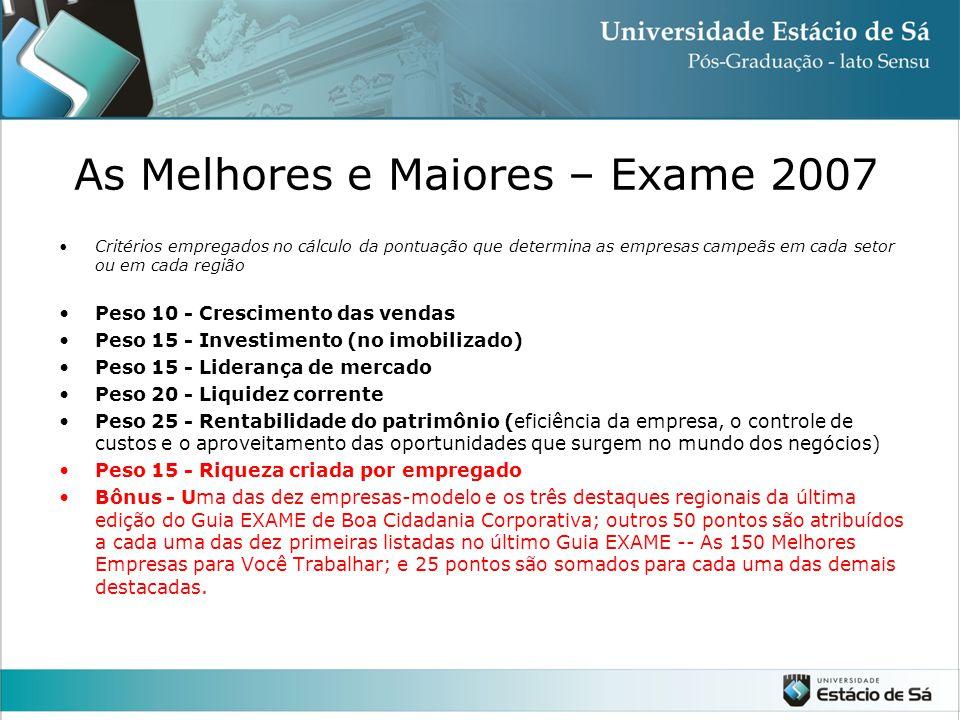 As Melhores e Maiores – Exame 2007