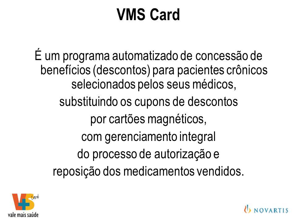 VMS Card É um programa automatizado de concessão de benefícios (descontos) para pacientes crônicos selecionados pelos seus médicos,