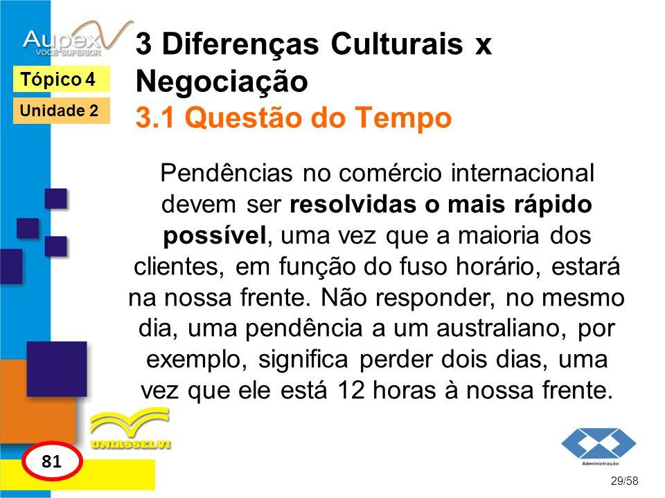 3 Diferenças Culturais x Negociação 3.1 Questão do Tempo