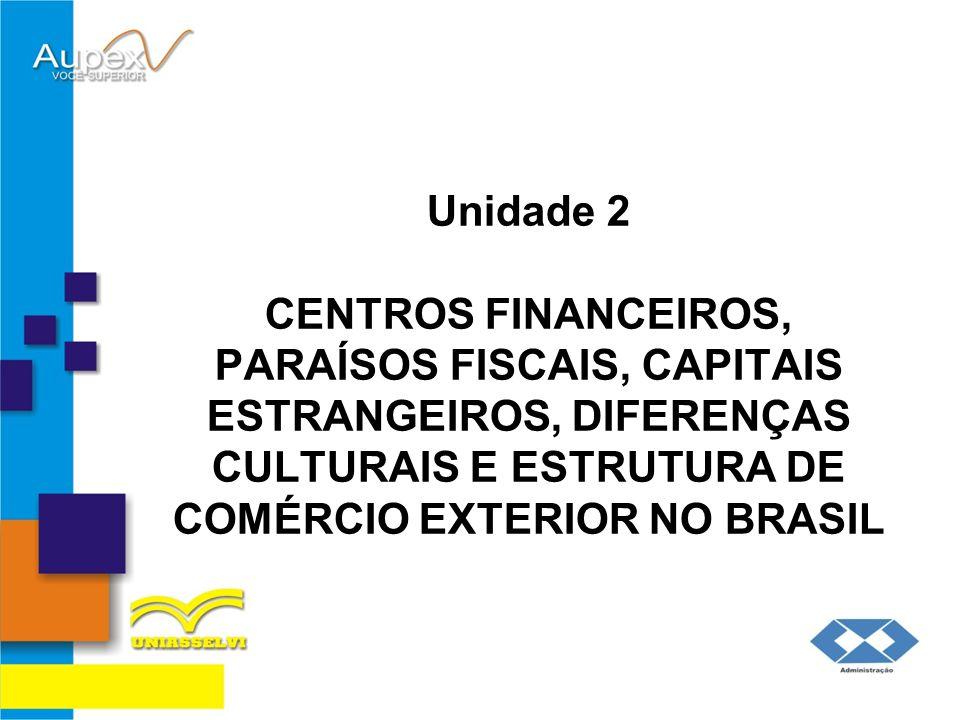 Unidade 2 CENTROS FINANCEIROS, PARAÍSOS FISCAIS, CAPITAIS ESTRANGEIROS, DIFERENÇAS CULTURAIS E ESTRUTURA DE COMÉRCIO EXTERIOR NO BRASIL