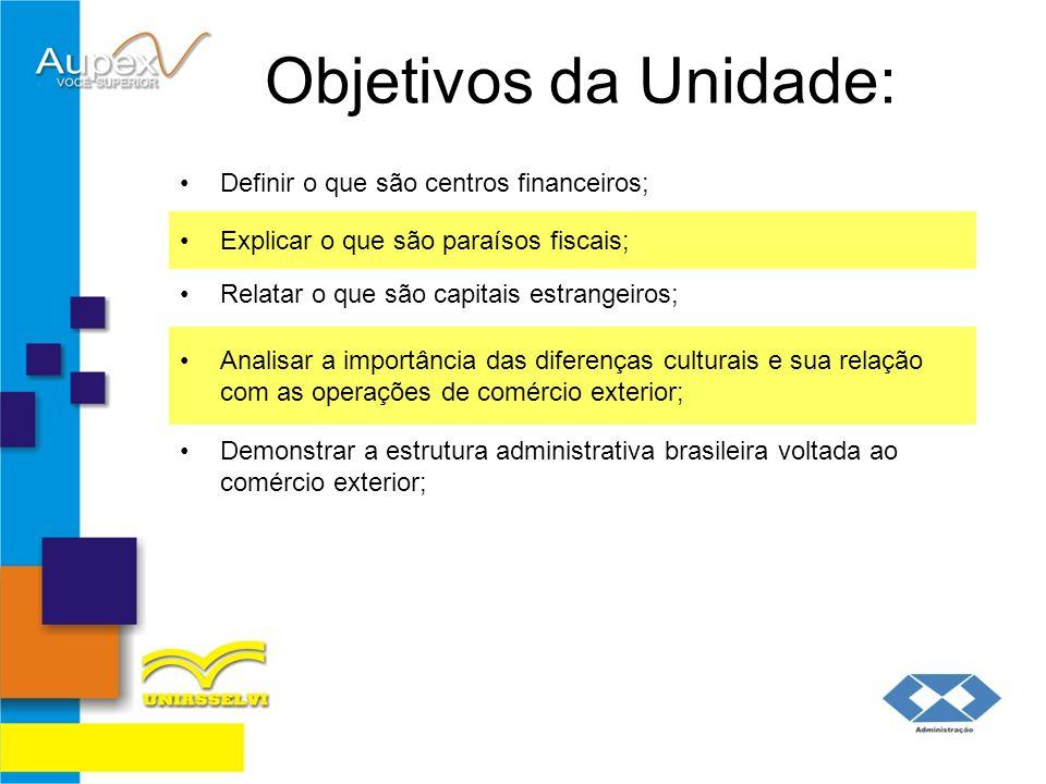 Objetivos da Unidade: Definir o que são centros financeiros;
