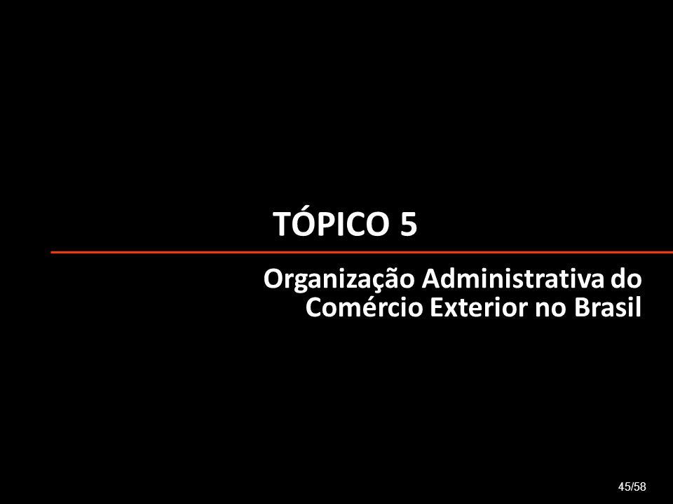 TÓPICO 5 Organização Administrativa do Comércio Exterior no Brasil