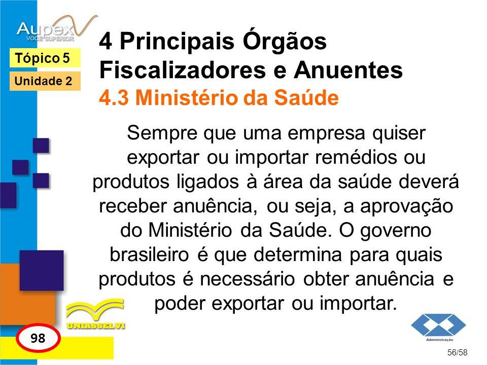 4 Principais Órgãos Fiscalizadores e Anuentes 4.3 Ministério da Saúde