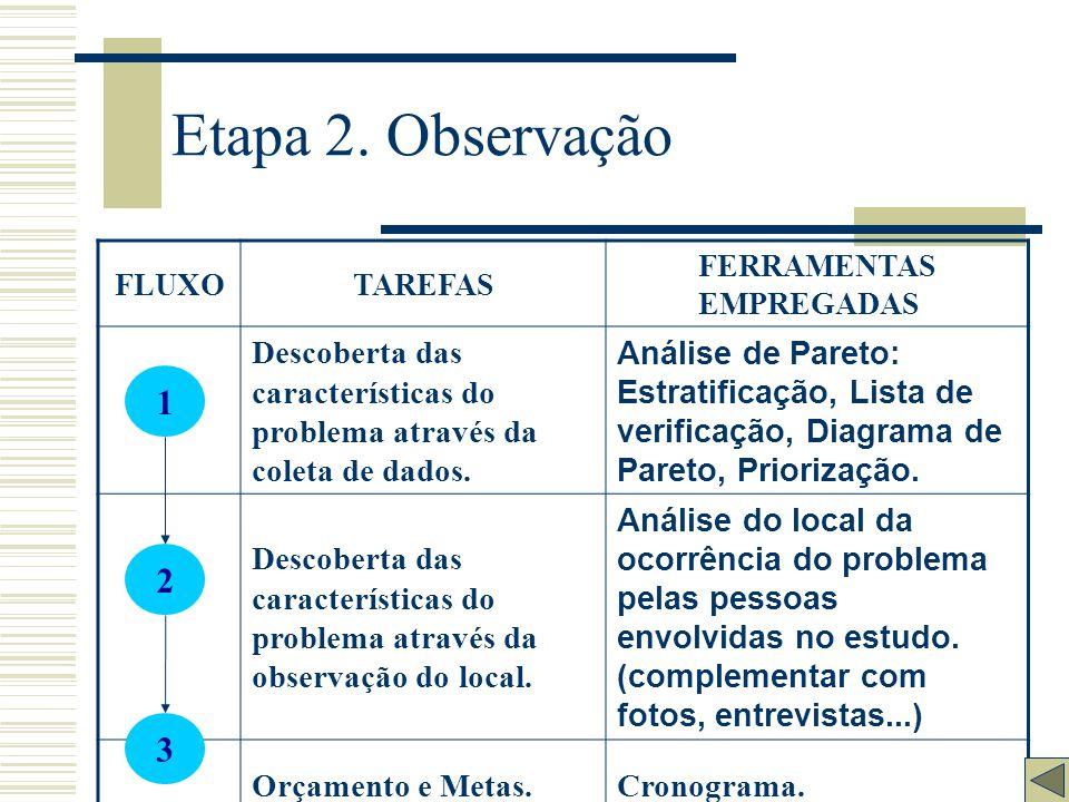 Etapa 2. Observação FLUXO. TAREFAS. FERRAMENTAS EMPREGADAS. Descoberta das características do problema através da coleta de dados.