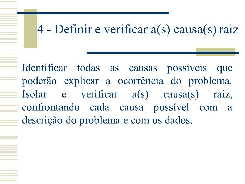 4 - Definir e verificar a(s) causa(s) raiz