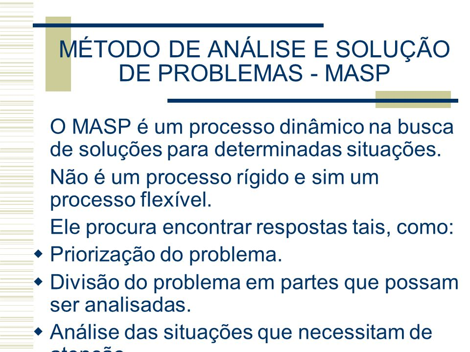 MÉTODO DE ANÁLISE E SOLUÇÃO DE PROBLEMAS - MASP