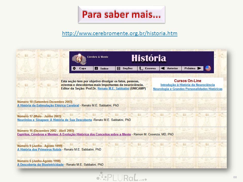Para saber mais... http://www.cerebromente.org.br/historia.htm 00