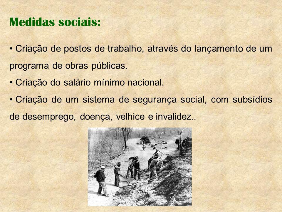 Medidas sociais: Criação de postos de trabalho, através do lançamento de um programa de obras públicas.