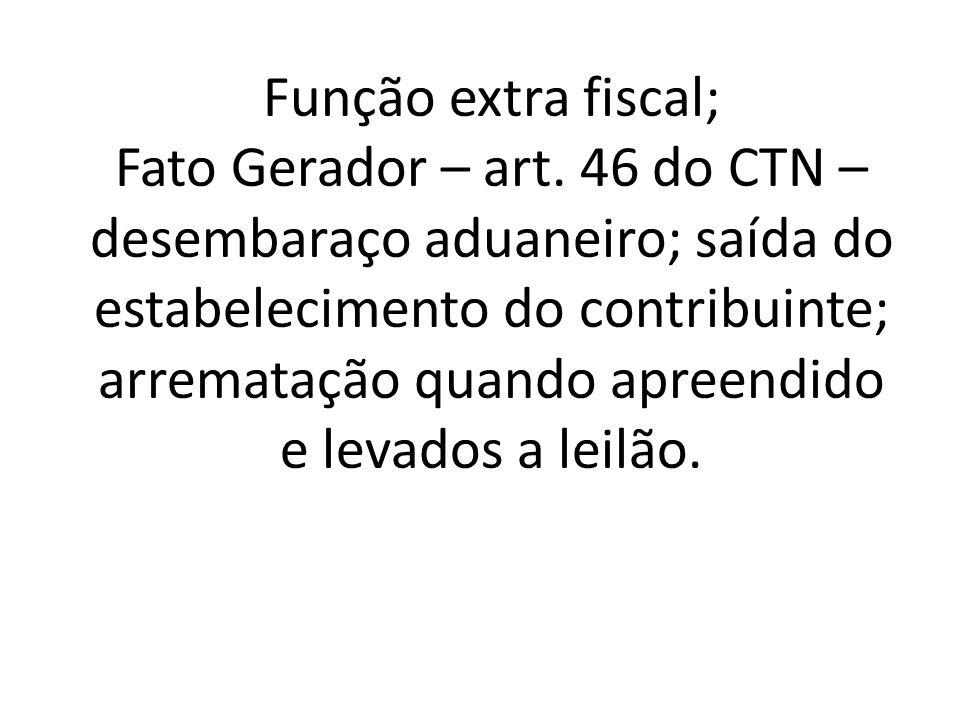 Função extra fiscal; Fato Gerador – art