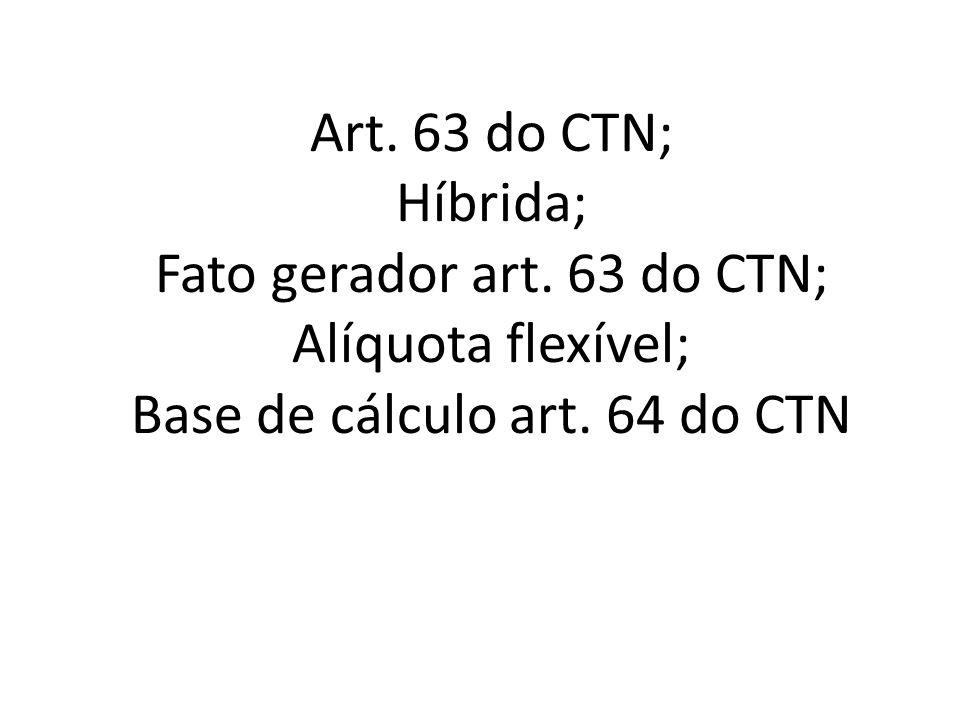 Art. 63 do CTN; Híbrida; Fato gerador art