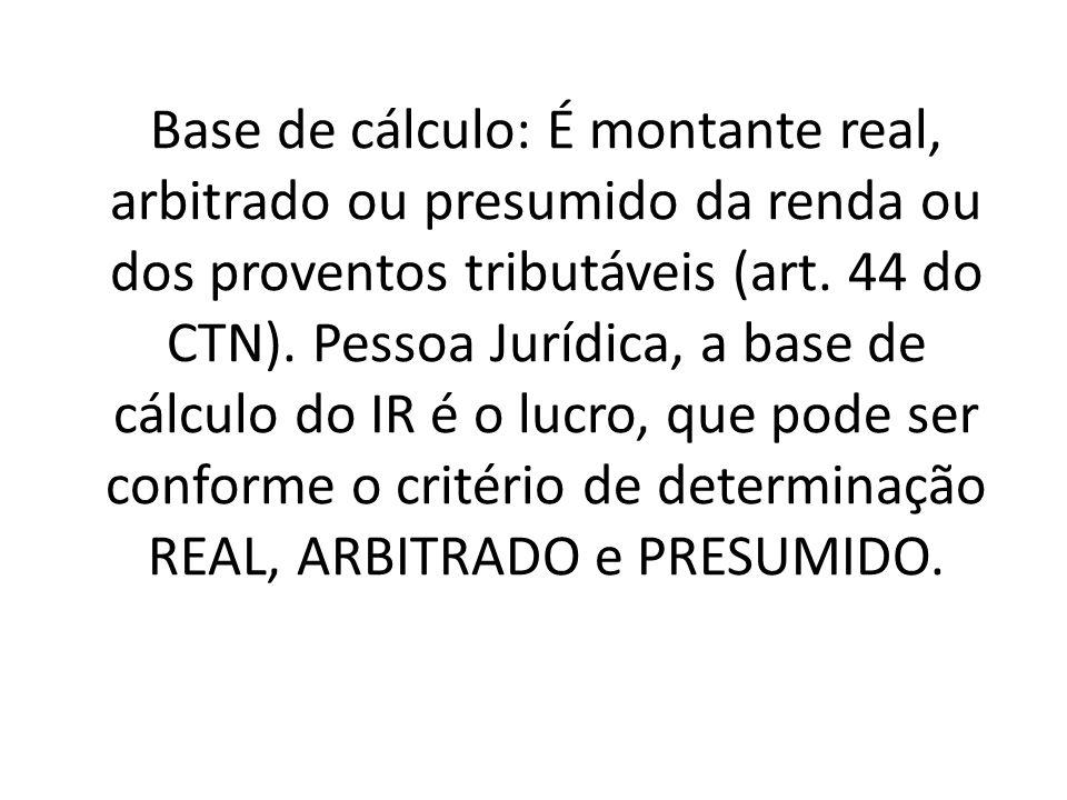 Base de cálculo: É montante real, arbitrado ou presumido da renda ou dos proventos tributáveis (art.