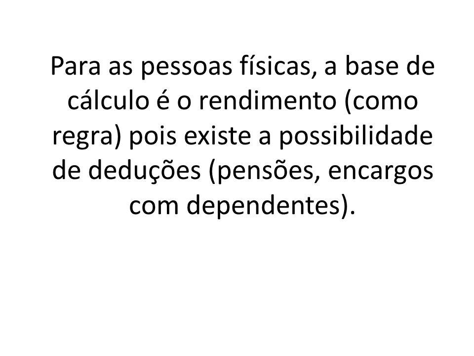 Para as pessoas físicas, a base de cálculo é o rendimento (como regra) pois existe a possibilidade de deduções (pensões, encargos com dependentes).