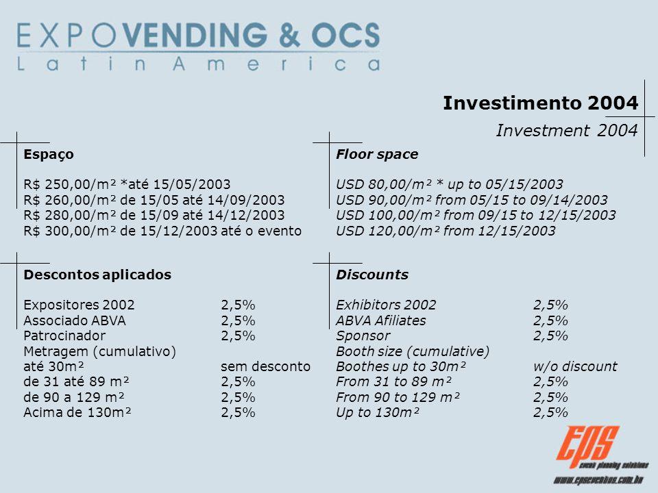 Investimento 2004 Investment 2004 Espaço R$ 250,00/m² *até 15/05/2003