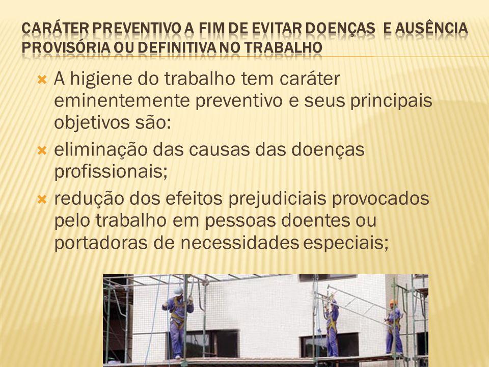 eliminação das causas das doenças profissionais;