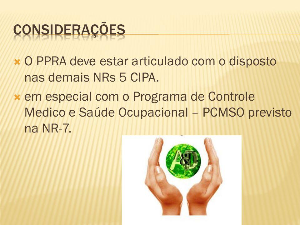 considerações O PPRA deve estar articulado com o disposto nas demais NRs 5 CIPA.