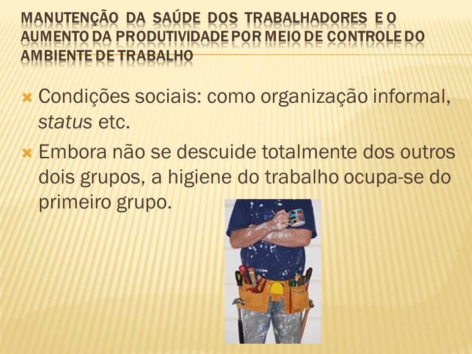 Condições sociais: como organização informal, status etc.
