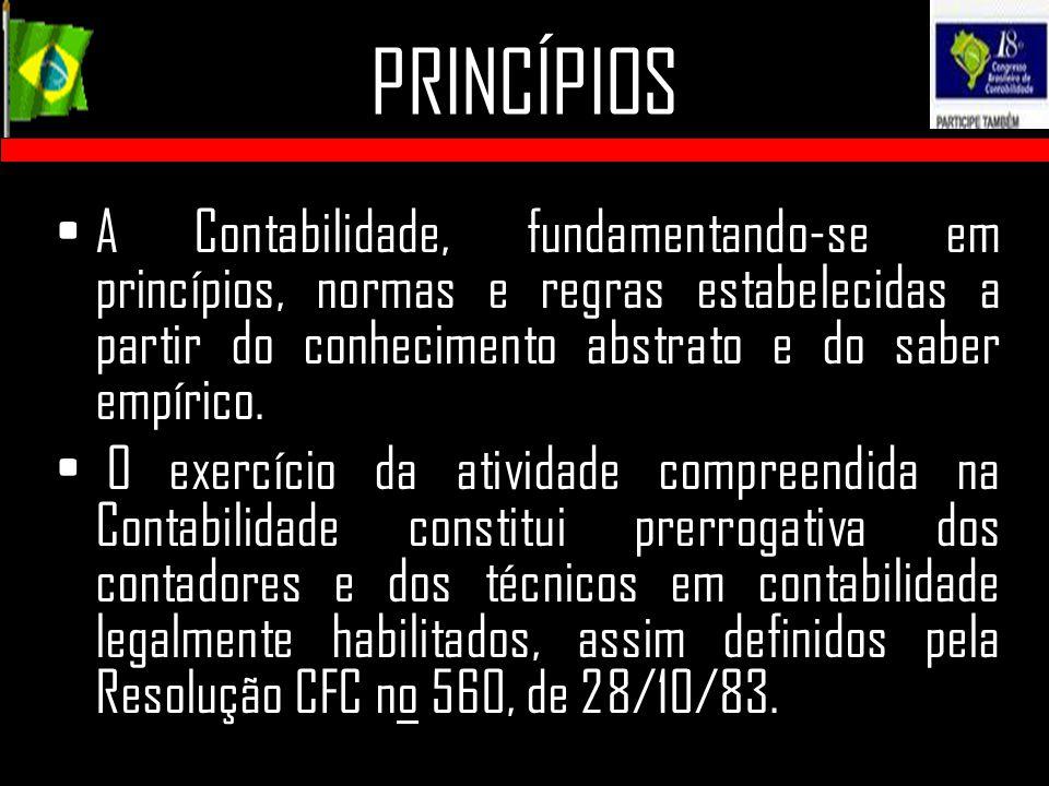 PRINCÍPIOS A Contabilidade, fundamentando-se em princípios, normas e regras estabelecidas a partir do conhecimento abstrato e do saber empírico.