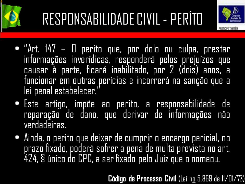 RESPONSABILIDADE CIVIL - PERÍTO