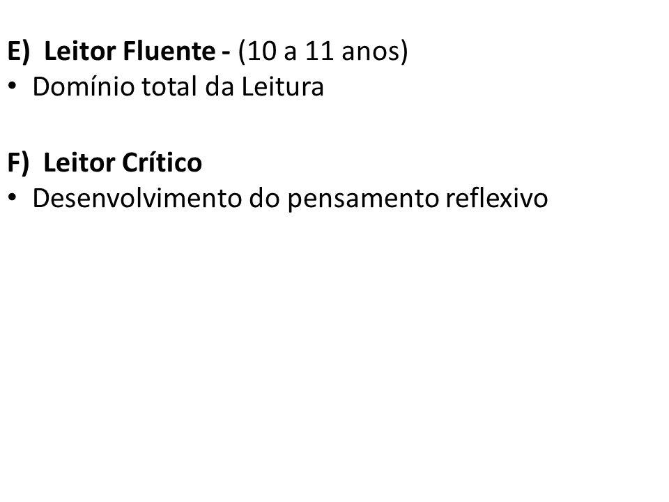E) Leitor Fluente - (10 a 11 anos)