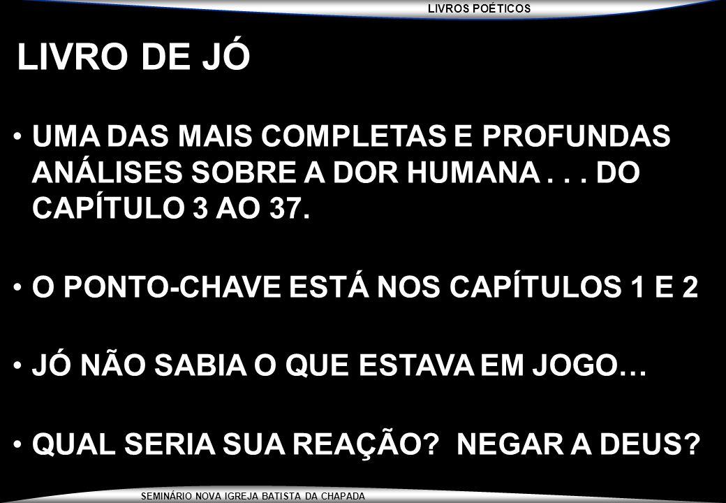 LIVRO DE JÓ UMA DAS MAIS COMPLETAS E PROFUNDAS ANÁLISES SOBRE A DOR HUMANA . . . DO CAPÍTULO 3 AO 37.