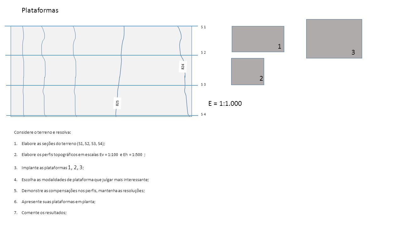 Plataformas 1 3 2 E = 1:1.000 Considere o terreno e resolva: