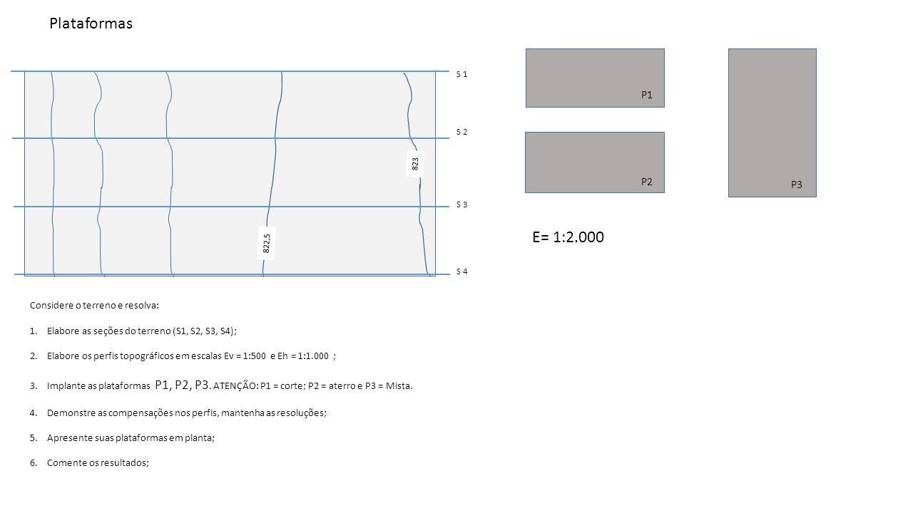 Plataformas E= 1:2.000 P1 P2 P3 Considere o terreno e resolva: